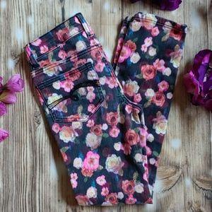 3/$15 Justice girls 8 super skinny floral jeans